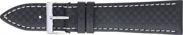 Carbone bracelet noir avec coutures blanches 24mm PVK-321
