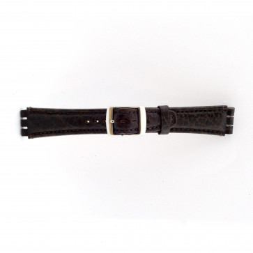 Bracelet de montre pour swatch brun foncé en cuir 19mm 21412