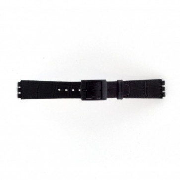 Bracelet de montre pour Swatch croco noir 16mm PVK SC16.01