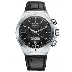 Edox bracelet de montre 10107 Cuir Noir + coutures noires