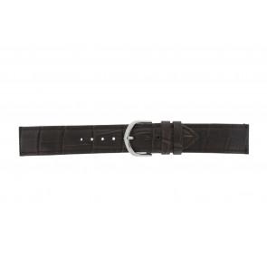 Olympic bracelet de montre 26HSL057 Cuir Brun foncé 20mm + coutures défaut