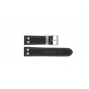Dutch Forces bracelet de montre 35C010204 / 12753JS/02 Cuir Noir 24mm + coutures blanches