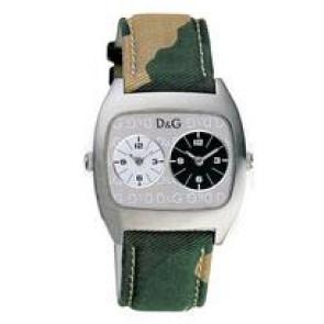 Dolce & Gabbana bracelet de montre 3719240255 Cuir/Textile Vert 22mm + coutures de beige