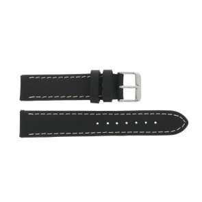 Bracelet de montre 61330.10.22XL Cuir Noir 22mm + coutures brunes