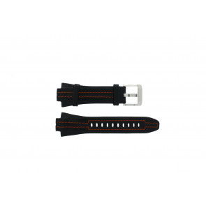 Seiko bracelet de montre 7L22-0AD0 Cuir Noir 15mm + coutures oranges