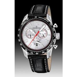Candino bracelet de montre C4429-1 Cuir Noir + coutures blanches