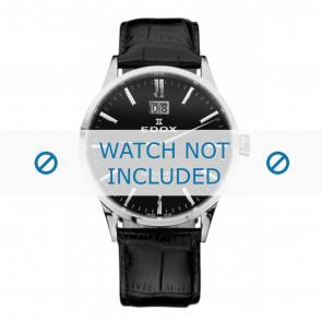 Edox bracelet de montre 63001-3-NIN Cuir Noir 21mm + coutures défaut