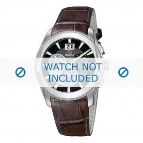 Jaguar bracelet de montre J615-4 Cuir croco Brun 22mm + coutures  bleues