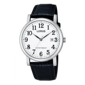 Lorus bracelet de montre VJ32 X246 Cuir Noir 20mm + coutures noires