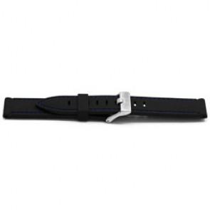 Bracelet de montre En caoutchouc 22mm Noir + coutures bleues EX XH17