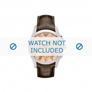 Armani bracelet de montre AR1634 Cuir Brun + coutures brunes