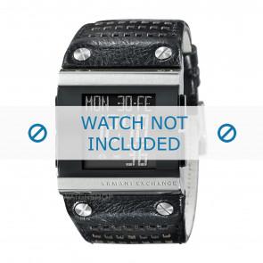 Armani bracelet de montre  AX1066 Cuir Noir + coutures noires