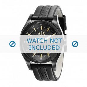 Armani bracelet de montre AX1091 Cuir Noir 22mm + coutures noires