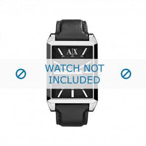 Armani bracelet de montre AX-2113 Cuir Noir 24mm + coutures noires