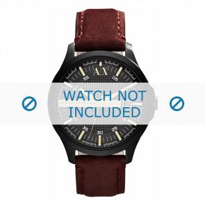 Armani bracelet de montre AX-2130  Cuir Brun 22mm + coutures brunes