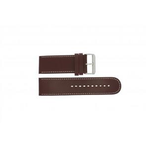 Prisma bracelet de montre 28BR Cuir Brun 28mm + coutures blanches
