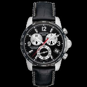 Certina bracelet de montre C610007731 / C536.7029.42.65 XL Cuir Noir 20mm + coutures blanches