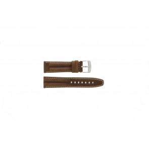 Camel bracelet de montre 6720-6729 / 6760-6769 Cuir Brun 22mm + coutures blanches