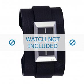 Dolce & Gabbana bracelet de montre 3719040031 Cuir Noir + coutures noires