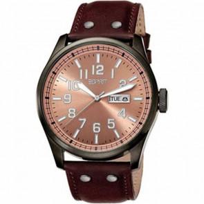 Esprit bracelet de montre ES103151002 Cuir Brun 25mm + coutures brunes