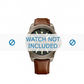 Hugo Boss bracelet de montre HB-238-1-34-2757 / 1513168 / Orange Cuir Brun 24mm + coutures brunes