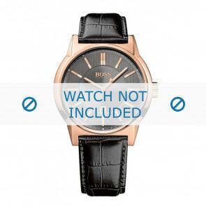 Hugo Boss bracelet de montre HB1513073 / HB-202-1-34-2720 Cuir Noir 22mm + coutures noires