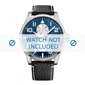 Hugo Boss bracelet de montre HB-88-1-14-2734 / HB1513084 Cuir Noir 24mm + coutures blanches