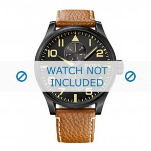 Hugo Boss bracelet de montre HB1513082 / HB-88-1-34-27 / HB-88-1-34-2733 Cuir Cognac 24mm + coutures blanches