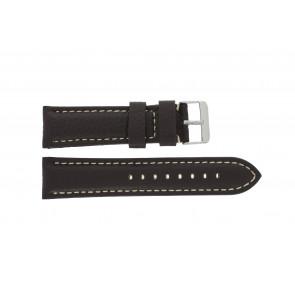 Bracelet de montre H038 XL Cuir Brun foncé 22mm + coutures blanches