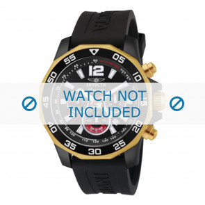 Invicta bracelet de montre 7434 Caoutchouc Noir 22mm