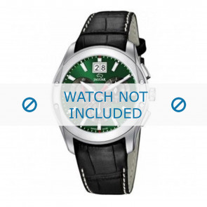 Jaguar bracelet de montre J615-3 / J615-A / J615-B / J615-D / J615-E / J615-G / J615-H / J615-I / J615-J / J615-K Cuir croco Noir 22mm + coutures blanches