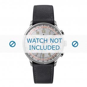 Junghans bracelet de montre 027/3380.00 Cuir Noir 21mm + coutures défaut