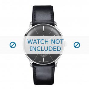 Junghans bracelet de montre 027/3503.00 Cuir Noir 20mm + coutures défaut