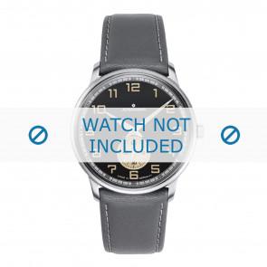 Junghans bracelet de montre 027/3607.00 Cuir Gris 20mm + coutures blanches