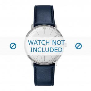Junghans bracelet de montre 041/4464.00 Cuir Bleu 20mm + coutures défaut