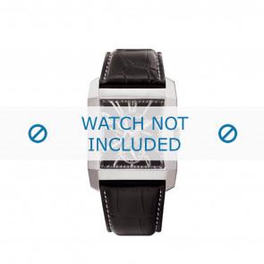Police bracelet de montre PL-10966MS/02 Cuir Noir + coutures blanches