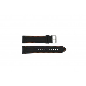 Pulsar bracelet de montre VK63-X001 / PU2071X1 Cuir Noir 22mm + coutures oranges