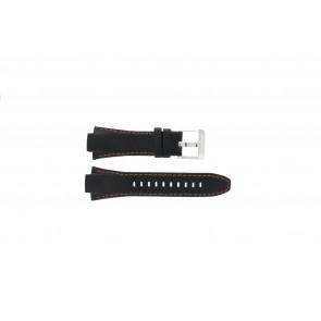 Seiko bracelet de montre 7T62-0ED0 / H023 00C0 / SNJ007P  Cuir Noir 15mm + coutures oranges