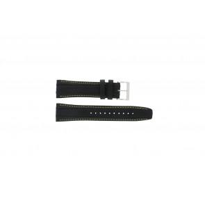 Seiko bracelet de montre 7T62-0HL0 / SNAB57P1 / 4LP3JB Cuir Noir 24mm + coutures jaunes