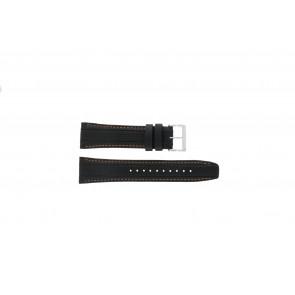 Seiko bracelet de montre 7T62-0HL0 / SNAB59P1 / SNAB59JC / SNAB59J1 Cuir Noir 24mm + coutures oranges
