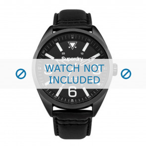 Superdry bracelet de montre SYG199BB Cuir Noir + coutures noires
