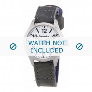 Superdry bracelet de montre SYL113E Cuir Gris + coutures grises