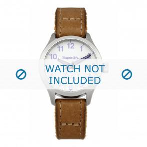 Superdry bracelet de montre SYL114TV Cuir Brun + coutures brunes