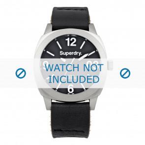 Superdry bracelet de montre SYL116B Cuir Noir + coutures noires