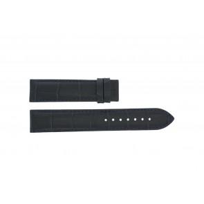 Tissot bracelet de montre T055.417.16.047.00 - T610032786 / T055.410.16.047.00 Cuir croco Bleu 19mm + coutures noires