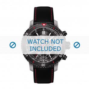 Tissot bracelet de montre T067.417.260.5100 T067417A - T610031781 Cuir Noir 19mm + coutures  rouges