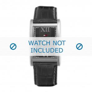 Tommy Hilfiger bracelet de montre TH-67-1-14-0759 / TH1710175 Cuir Noir + coutures noires