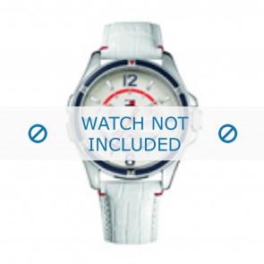Tommy Hilfiger bracelet de montre TH-78-3-18-0793 / TH1780861 Cuir Blanc + coutures blanches