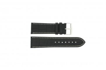 En cuir de bison noir avec coutures blanches 24mm PVK-518xl