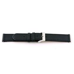 18mm Bracelet de montre en cuir noir avec coutures EX-J46